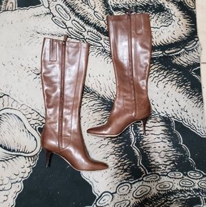 Cole Haan brown leather heel tall boots 6.5 B